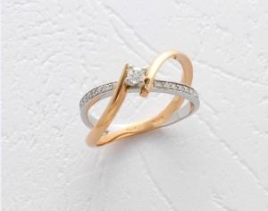 Inel 18K, cu diamant 0,18 ct, taietura brilliant