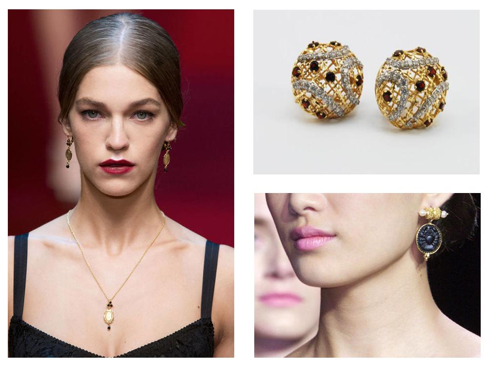 Bijuterii aurii si modele vintage; cercei rotunzi din aur 14K cu granat